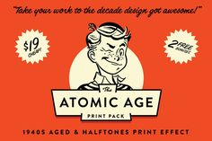 Vintage Graphic Design The Atomic Age Print Kit - The Atomic Age Print Kit - Create Authentic Halftone and Textured Ink Overlays with One Click! Print Design, Logo Design, Design Art, Vintage Newspaper, Vintage Graphic Design, Atomic Age, Flyer, How To Get Rich, Colorful Backgrounds