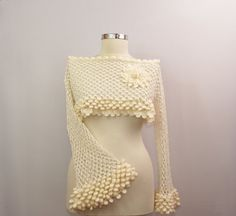 Crochet Crop Top Ivory Cropped Sweater Lace Blouse by lilithist Crochet Crop Top, Crochet Blouse, Lace Sweater, Cropped Sweater, Bridal Cover Up, Bridal Shrug, Boat Neck Tops, Neck Scarves, Crochet Fashion