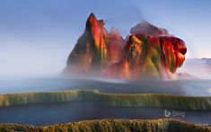 A farmer in Nevada drilling for water, mistakenly created a fly geyser. It sprays nutrient-rich water through the ground, eventually creating a mountain of residual minerals at over 200 degrees Fahrenheit..