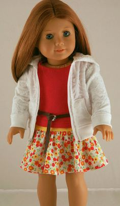 American Girl Doll Clothes - Lace Hoodie, Fuschia Tank, Knit Skirt, and Leather Belt Sewing Doll Clothes, Girl Doll Clothes, Doll Clothes Patterns, Girl Dolls, Doll Patterns, American Girl Dress, American Doll Clothes, American Dolls, America Girl
