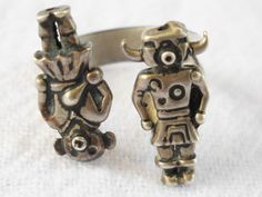 FRED HARVEY Sterling Two Mudhead Kachina Adjustable Ring Size 5-7 RARE Navajo #Unbranded