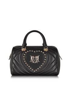 LOVE MOSCHINO BLACK QUILTED HEART ECO LEATHER SATCHEL W/SHOULDER STRAP