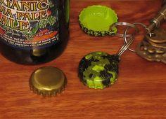 Camo Green Keyring Bottle Opener Bottle Cap by GreyInnovations
