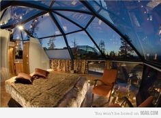 Amazing bedroom to have in the country...I would worry about creepers though