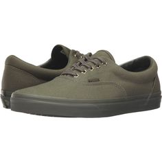 Vans Era ((Gold Mono) Ivy Green) Skate Shoes (£32) ❤ liked on Polyvore featuring shoes, green, vans footwear, green shoes, laced shoes, yellow gold shoes and gold shoes