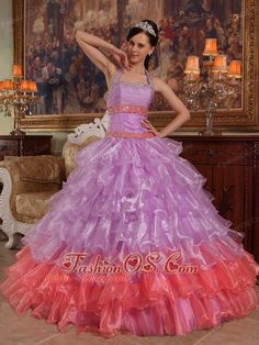 Discount Lavender Quinceanera Dress Halter Organza Beading Ball Gown  http://www.facebook.com/quinceaneradress.fashionos.us  http://www.youtube.com/user/fashionoscom?feature=mhee   Generous of this beaded halter top Quinceanera Dress. The fitted bodice features a rached fabric and two parallel bands on waist and hips part. Shimmery beads adorned the whole bodice trim from front to back. The A-lined skirt is full of tired of fabric make the dress well arranged.