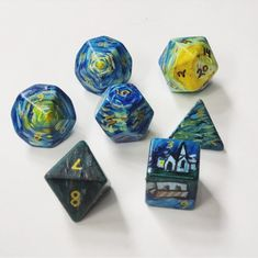 """""""Decided to try my hand at painted dice. First attempt and learned a lot but pretty happy with them. They're a take on Van Gogh's """"Starry Night. Wallpaper Gamer, Paranormal, Cubes, Dragon Dies, Dungeons And Dragons Dice, Tabletop Rpg, Dnd Characters, Geek Out, Pen And Paper"""
