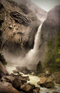 Yosemite- as a kid, we would stay on the valley floor, in Camp Curry- and all night long, you would hear the waterfall- it was hypnotic!