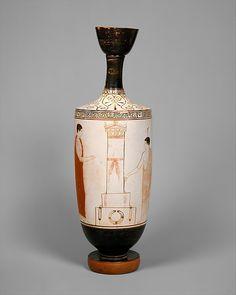 Terracotta lekythos (oil flask)    Attributed to the Achilles Painter   Period: Classical  Date: ca. 440 B.C.  Culture: Greek, Attic  Medium: Terracotta; white-ground