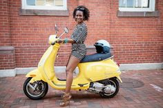 """Vespa Style: Yoga instructor Faith Hunter and her bright yellow Vespa. """"My signature style is called 'Spiritually Fly.' It is a mix of Louisiana charm, urban/hip-hop flavor, and yoga practices and lifestyle.""""  """"I love the Italian flair of a Vespa, the individuality, and having the freedom to zip around town. It is one of those few motorized vehicles that truly sets you apart from the pack..."""" Credit: Refinery29"""