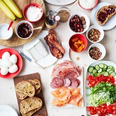 Breakfast Bruschetta Bar | Martha Stewart - easy and elegant way to feed lots of people with different tastes on Christmas morning