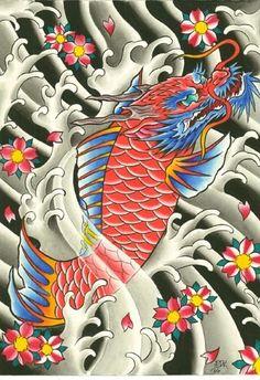 Japanese Flowers And Dragon Koi Tattoo Design
