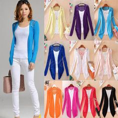 new fashion women Lace Sweet Candy Color Crochet Knit jacket Cardigan  $6.50 (free shipping)