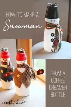 How to make a snowman from a coffee creamer bottle from Make A Snowman, Snowman Crafts, Holiday Crafts, Snowman Wreath, Snowman Ornaments, Snowman Faces, Party Crafts, Cute Snowman, Small Plastic Bottles