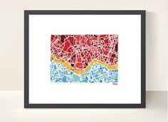 Seoul City Map  illustration print by richardedalton on Etsy, €13.00