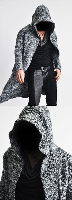 Outerwear :: Cardigans :: Edge Long Hood Chunky Knit Cape Coat-Coat 59 - Mens Fashion Clothing For An Attractive Guy Look