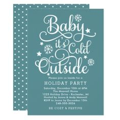 It's Cold Outside   Teal Holiday Party Invitation - christmas cards merry xmas diy cyo greetings