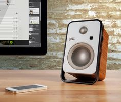 Polk Hampden Bluetooth Desktop Speakers  - 4-channel amplifiers for each woofer & tweeter plus upgraded audio input converters and a clean teak veneer finish makes the Hampden Bluetooth speakers from Polk Audio a welcome addition to your desktop.