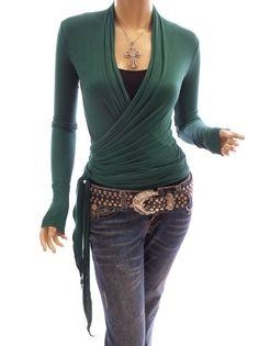 Amazon.com: Patty Women Sexy Convertible Long Sleeve Casual Wrap Blouse Top: Clothing