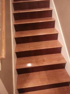 Stained Pine Stairs : My stairs! Pine Ipswich stain for stairs. Red. Mahogany for risers ...