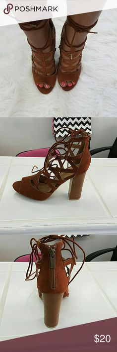 Brown lace up sandal Brown with a zipper in the back and brown strains that go around your ankle Bamboo  Shoes Sandals