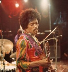 Jimi Hendrix during his last performance in England at The Isle Of Wight Festival, 1970