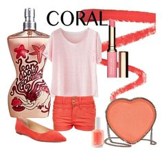 """""""Corals everywhere!"""" by beautifulgirlsblog ❤ liked on Polyvore featuring beauty, Jean-Paul Gaultier, Ellis Faas, Michael Kors, Wrap, Pilot, STELLA McCARTNEY, Essie and Clarins"""
