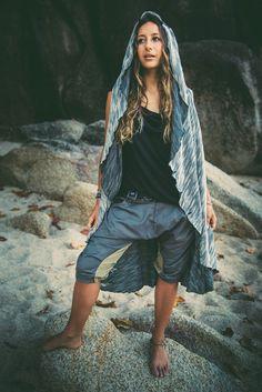 CAPRI Grey - Stylish drop crotch shorts to fit any occasion #Bedouin #Natural #SummerCapris #UrbanNomadClothing #Uniquepattern #ethicalfashion #feelgoodclothing