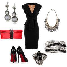 Clearly a little dramatic for work, but I like the lines of the dress & drool for Louboutin...the jewelry is a bit much for me. I'm not too adventurous in the jewelry department...I love rings, though!