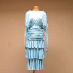 Vintage Tadashi Dress Aqua Jersey