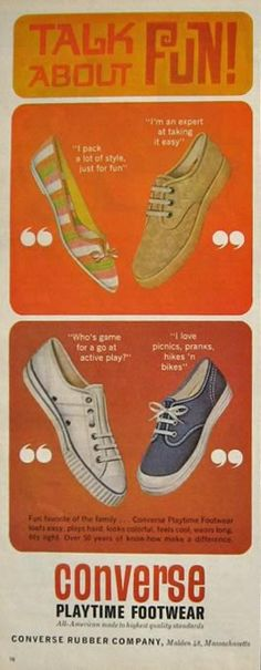 i'm still all fired up about the vintage cons i found for lo, so i figured i would post some of my favorite vintage converse advertisements. i love the color, design, and all around feel of these ...