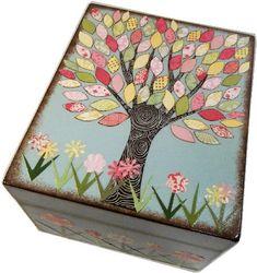Caja de la receta, profundo doble Decoupaged, grande hechos a mano caja, almacenamiento, organización, árbol colorido cuadro, hecho a la medida