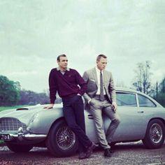 Sean Connery, James Bond 007 standing next to his original Aston Martin James Bond car, with a later Bond, Daniel Craig. Style James Bond, James Bond Cars, James Bond Movies, Sean Connery, Daniel Craig, Craig 007, Craig Bond, Rachel Weisz, Hipster Bart