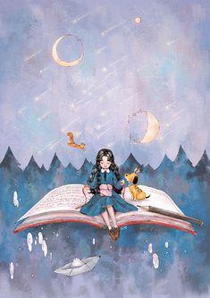 Cute Cartoon Girl, Cartoon Girl Drawing, Cartoon Pics, Forest Girl, Reading Art, Cute Girl Wallpaper, Art And Illustration, Digital Art Girl, Cartoon Art Styles