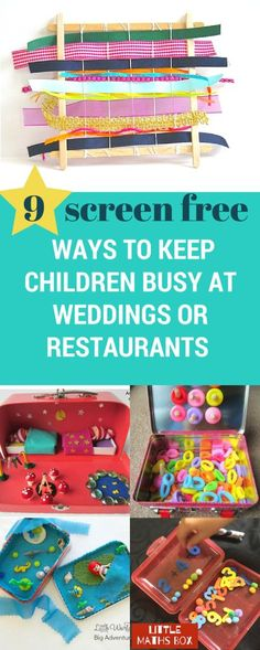 9 screen-free ways to keep children entertained at a wedding or a restaurant. So, if you're looking for child friendly wedding ideas or have a wedding or family event to go to with your children or if you even want some ways to keep your children entertained in a restaurant – then check out these ingenious ideas to keep children busy without using a phone!