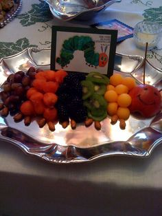 storybook theme baby shower ideas | And the absolute cutest thing ever -- THE HUNGRY CATERPILLAR fruit ...
