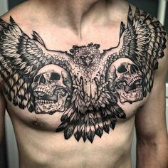 chest tattoo skulls and bird