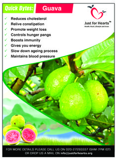 The popular healthy fruit guava is packed with antioxidants, phytonutrients, dietary fiber, vitamins A, vitamin C, B-Complex vitamins like riboflavin, niacin, thiamin and minerals like potassium, phosphorus. It is very low in calories & also zero in cholesterol.