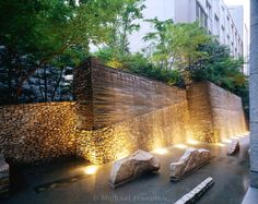 A modern Zen garden at the Kojimachi Kaikan in central Tokyo, Japan. The stones represent Buddhist cosmology. The designer, Shunmyo Masuno, is a Zen priest and the acknowledged master of modern Zen gardens - Michael Freeman Photography Landscape Elements, Landscape Architecture Design, Landscape Walls, Landscape Lighting, Modern Landscaping, Outdoor Landscaping, Piscina Spa, Modern Water Feature, Modern Fountain