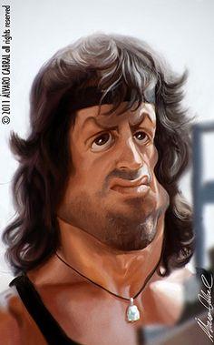 Caricatura digital, ator Silvester stallone em Rambo 2 Photoshop- alvarocabral.blogspot .com/