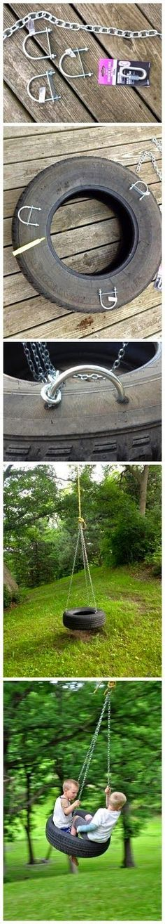 DIY - Old Fashioned Tire Swing for the gardens