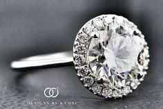 Round Halo Engagement Ring with Slim Plain Band made by DesignsByKamni