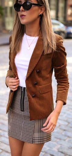 #winter #outfits brown blazer, white shirt, and plaid miniskirt