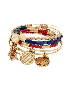 """Alex and Ani Set of 5 """"Berrylicious"""" Expandable Bangles is on Rue. Shop it now."""