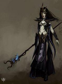 Female Sorceress | Dark Elves - Sorceress - Warhammer Online - www.mmosite.com