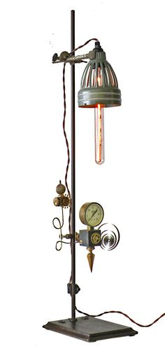 A lamp made with old lab equipment.