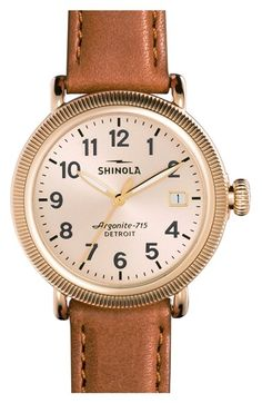 Free shipping and returns on Shinola 'The Runwell' Leather Strap Watch, 38mm at Nordstrom.com. The original Shinola watch series—meticulously assembled in Detroit from Swiss and imported components—offers expert craftsmanship and classic style in a round, handcrafted timepiece. The 46-piece quartz movement powers the time, while a double-curved sapphire crystal face surrounded by a coin-edge bezel protects the handsome stone-colored display. A solid steel case and premium topstitched…