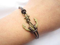 Anchor Bracelet---antique bronze unique little anchor leather chain. $2.99, via Etsy.