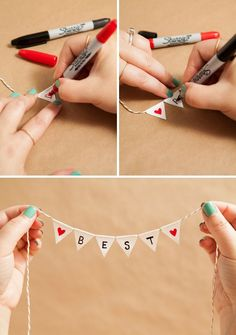Learn how to make a darling and simple bunting cake topper!<br> We show you how to transform a super common adhesive into the most adorable bunting cake topper you have ever seen; personalized with a unique saying! Diy Bunting Cake Topper, Cake Toppers, Creative Gifts For Boyfriend, Boyfriend Gifts, Craft For Boyfriend, Diy Presents For Boyfriend, Bff Birthday Gift, Diy Gifts Boyfriend Birthday, Birthday Greetings