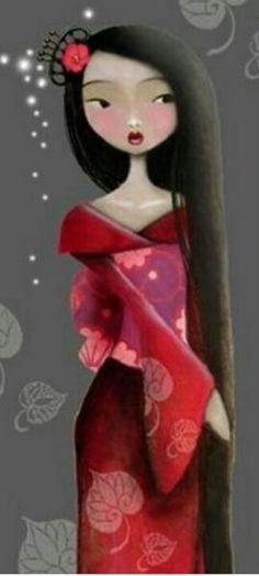 Illustrations, Illustration Art, Geisha Art, Kokeshi Dolls, How To Draw Hair, Whimsical Art, Face Art, Asian Art, Japanese Art